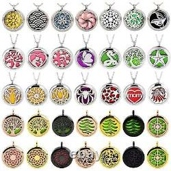 100× Stainless Steel Aromatherapy Necklace Essential Oil Diffuser Locket Pendant