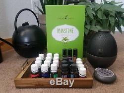 20 Young Living/Doterra Essential Oils + Young Living Rainstone Diffuser