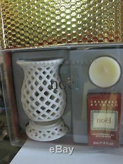 Crabtree & Evelyn Noel Fragrance Oil, Small Candle + 2 Pc Porcelain Scenter Nib