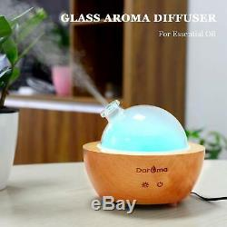 Daroma Glass Essential Oil Diffuser, 200ml Real Wood Base, Air Room Humidifier
