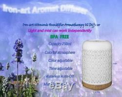 Essential Oil Diffuser, 250ml Iron-art Ultrasonic Humidifier Aromatherapy Oil Dif