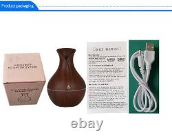 Essential Oil Diffuser Humidifier Aromatherapy Wood Grain Vase Aroma 130ml LED