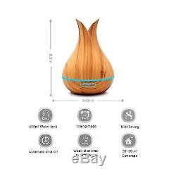 KBAYBO 400ml Aroma Essential Oil Diffuser Ultrasonic Air Humidifier with Wood
