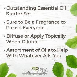 Plant Therapy Essential Oils 7 & 7 Set 10 mL with Wood Grain Aromafuse Diffuser