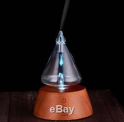 UONE Nebulizing Essential Oil Aroma Diffuser, Wood and Glass Aromatherapy with 7