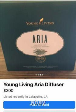 Young Living Aria Ultrasonic Essential Oil Diffuser USED 5xs! IN BOX